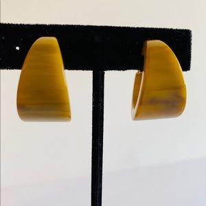 Vintage Mabled Butterscotch Bakelite Clip Earrings